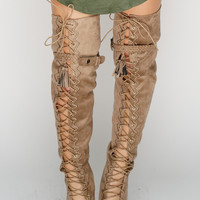 Tyra Thigh Boots - Taupe