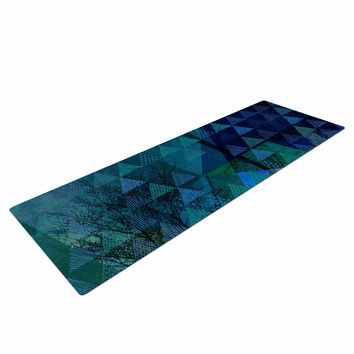 "Pia Schneider ""Triangles Blue Melange"" Blue Green Yoga Mat"