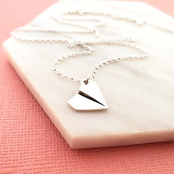 Paper Plane Charm Necklace - Dainty Sterling Silver Jewelry
