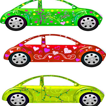Girly Hippy cars printable art car clipart Digital graphics image download hippie cars flowers hearts vehicles automobiles art printables
