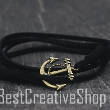 SALE! Anchor Bracelet / Black Bracelet / Sea Nautical Suede Bracelet / Marine Bracelet / Mens Bracelet / Women Men Nautical Bracelet