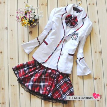 Fashionable Japanese school girl uniform Plaid school uniform for girls Korea school uniforms spring autumn full sleeve uniform