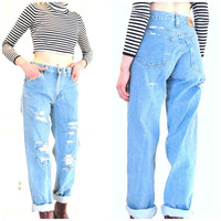 shredded BOYFRIEND jeans vintage 80s 90s DISTRESSED pale light wash high waisted GRUNGE tapered jeans
