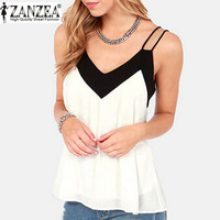 Summer Style 2016 Sexy V Neck Womens Sleeveless Halter Blouse Vest Loose Chiffon Tank Tops Blusas Femininas Plus Size