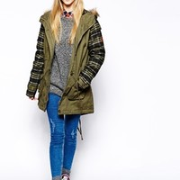 Bellfield Parka Jacket With Checked Contrast Sleeves