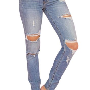 Women's Faded Light Blue Wash Distressed Jeans