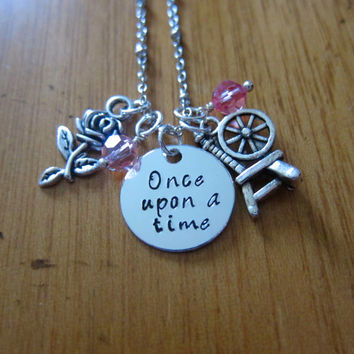 "Disney Inspired Princess Aurora Necklace. ""Once Upon A Time"" Sleeping Beauty. Silver colored, Hand Stamped, Swarovski crystals FREE shipping"