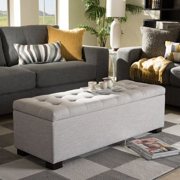 Baxton Studio Roanoke Modern and Contemporary Grayish Beige Fabric Upholstered Grid-Tufting Storage Ottoman Bench Set of 1