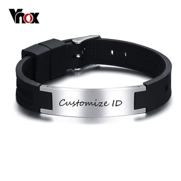 Vnox Free Engraving Stainless Steel ID for Men and Women Adjustable Size  Black Silicone Healthy Magnetic Stones Bracelet