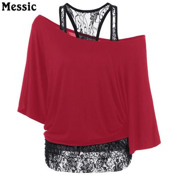 Plus Size xxxl 4xl 5xl Tees New arrival Summer Women Loose Inclined Shoulder Short Sleeve t shirt Lace Patchwork Sexy Basic Tops