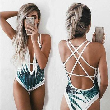 ICIK7XP Sexy Deep Plunge Tropical Palm Leaf Trikini Bathing Suit Monokini Mesh Plus Size Swimwear Women One Piece High Waist Swimsuit