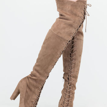 On Corset Lace-Up Over-The-Knee Boots