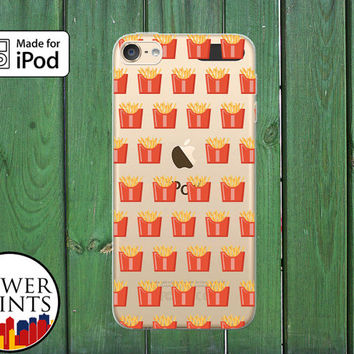 French Fries Food Pattern Funny Tumblr Inspired Custom Clear Case For iPod Touch 5th Generation and iPod Touch 6th Generation iPod 5 iPod 6