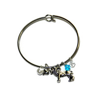 Silver Lion Charm Bangle with Silver Heart Charm, Pearl and White and Light Blue Crystals, One Size Fits Most, ADPi
