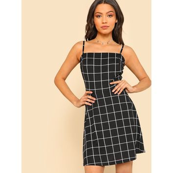 Grid Fit & Flare Cami Dress
