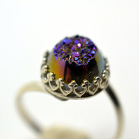 Purple Druzy Agate Ring, Handforged Sterling Silver Cocktail Ring, Womens Jewelry, Gold and Purple