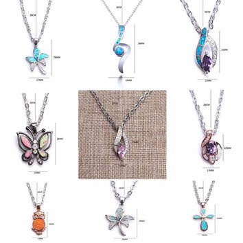 1pc LUCKY EYE Cute fire opal copper flower anchor butterfly Sea turtle necklace pendant opal stone for women best gift