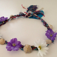 Cute yellow and blue flower headband