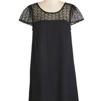ModCloth LBD Mid-length Cap Sleeves Shift Lovesome Lace Dress