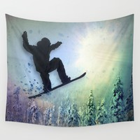 The Snowboarder: Air Wall Tapestry by Amanda Royale | Society6