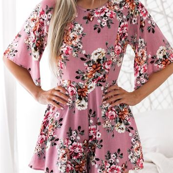 Pink long-sleeved print jumpsuit