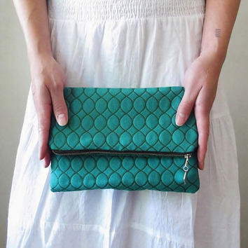 Teal Foldover Clutch - Vintage Geometric Ogee Fabric - Vibrant Teal with Avocado Green Embroidery - Fully Lined - Eco Friendly