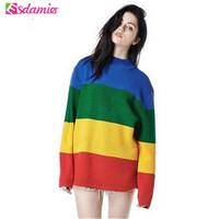 Harajuku Loose Sweater Crayola Rainbow Stripe Women Sweater Oversized Pullover Knit O neck Women Sweaters And Pullovers