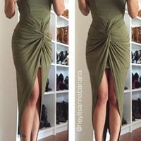 Olive Knotty High Low Dress - Olive