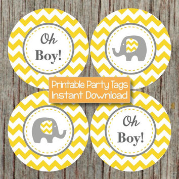Oh Boy! Tags Baby Shower Favor Stickers Labels Yellow Grey Chevron Elephant Cupcake Toppers INSTANT DOWNLOAD PDF Printable Party 147
