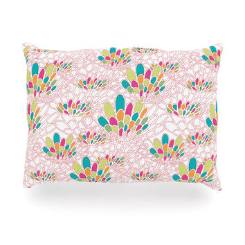 "Miranda Mol ""Blown Away"" Pink Multicolor Oblong Pillow"