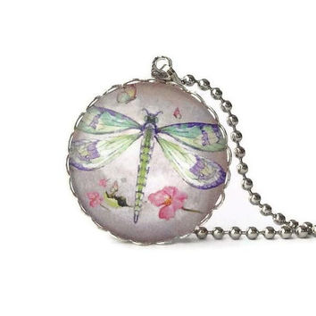 Dragonfly jewelry, insect pendant, round glass necklace, purple pink illustrations, drawing, watercolor painting
