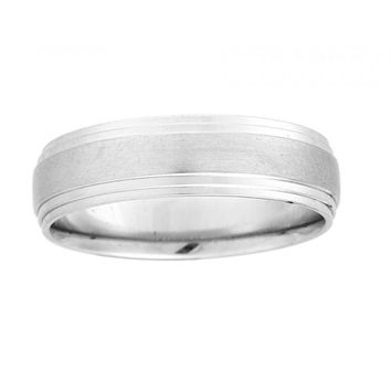 6mm wide mens wedding band with satin finish and polished outer edges.