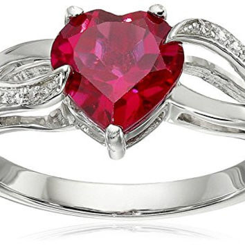Sterling Silver Heart Created Ruby and Diamond Ring, Size 7