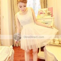 LIYIN Lace Yarn Ruffle Layered Sleeveless Women Dresses, New Zealand - DinoDirect.com