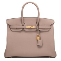 Hermes Birkin Bag 35cm HSS Bi-color Gris Tourterelle And Ardroise Togo Brushed Gold Hardware | World's Best