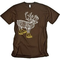 Elk Skates Funny Animal T-shirt