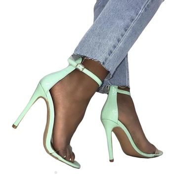 Transparent Accented Ankle Strap Shoes