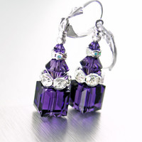 Dark Purple Crystal Earrings Sterling Silver Purple Swarovski Crystal Cube Earrings Elegant Sparkly Geometric Purple Dangle Earrings
