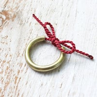 Forget Me Knot Ring / brass & red silk string remembrance pinkie ring - Made to Order
