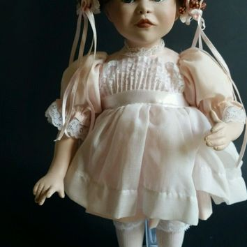 Porcelain Doll Braided Hair, Ballet  and Pink Dress Brown Hair with flowers German