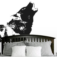 Wall Decal Vinyl Sticker Decals Art Decor Design Howling Wolf Animals Nature Wild World Kid Children Nursery Bedroom Dorm Fashion(r491)