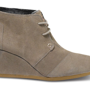TOMS Desert Wedge Women Taupe Suede