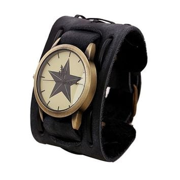 Mens fashion watch designer  Retro Punk Rock Big Wide PU Leather Watch