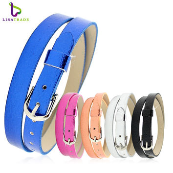 8MM leather bracelet for women 8mm litchi grain PU leather wristband bracelet accessory Fit for slide letters charms LSBR033*10