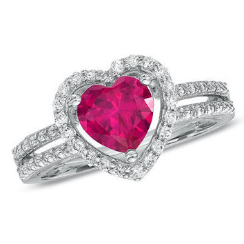7.0mm Heart-Shaped Lab-Created Ruby and White Sapphire Heart Frame Ring in Sterling Silver - View All Rings - Zales
