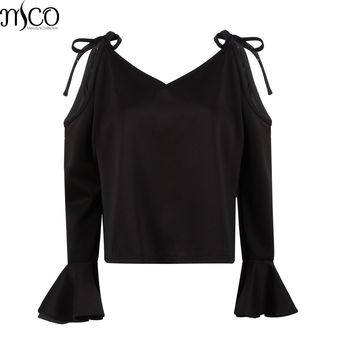 MCO Sexy Cold Off Shoulder Plus Size Women Blouse Casual Flatter Sleeves Big Women's Top Oversized Black Blouses 5xl 6xl 7xl