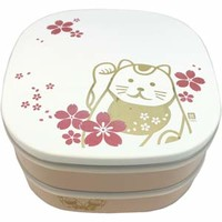Lucky Cat (Maneki Neko) Picnic Gold Leaf Jubako size 6.5