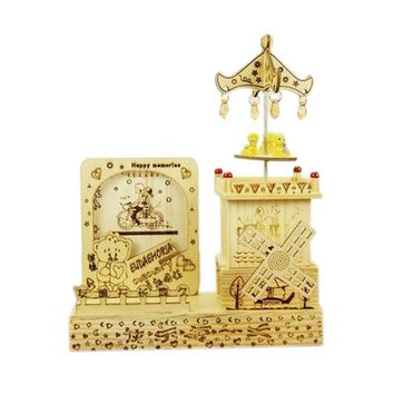 Nice Wooden Photo Frame Windmill Music Decoration Clockwork Music Boxes