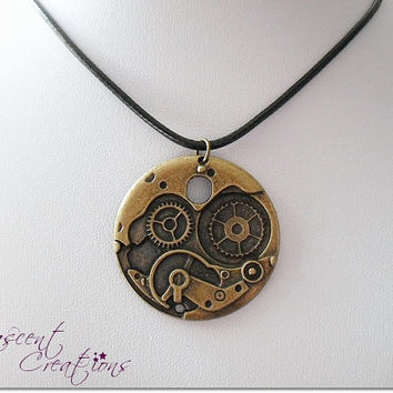 Steampunk disc necklace, gear necklace for men, watch gear charm necklace, urban industrial necklace, gear cog leather necklace gift for men