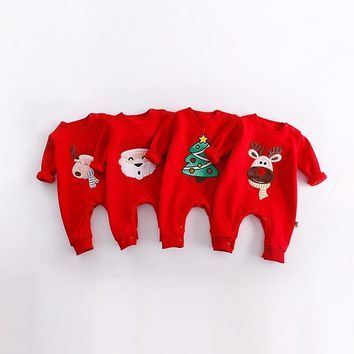 Christmas Baby Rompers Lovely Santa Claus Costume Kids Newborn Clothes Long Sleeve Body Suit Children Infant Clothing Set